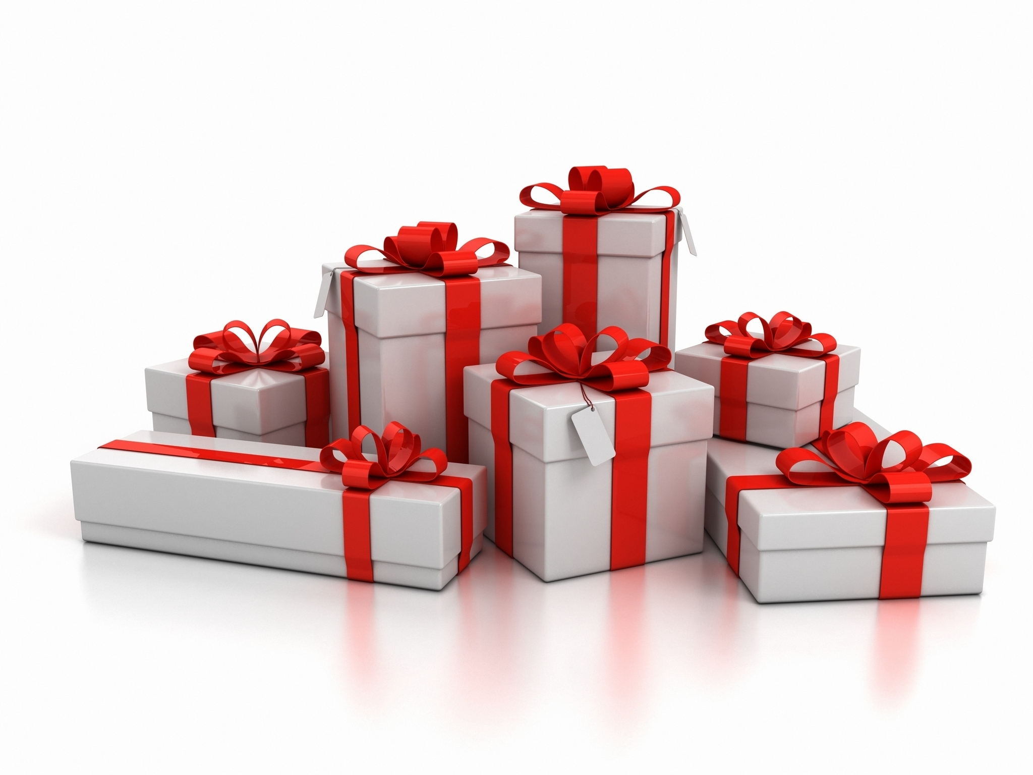 gift boxes over white background 3d illustration